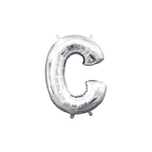 Air-Filled Silver Letter C Balloon