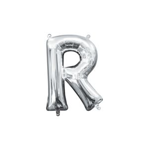 Air-Filled Silver Letter R Balloon