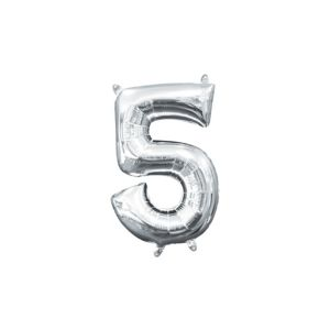 Air-Filled Silver Number 5 Balloon