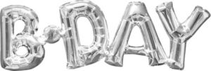 Air-Filled Silver B-Day Letter Balloon Banner