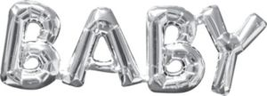 Air-Filled Silver Baby Letter Balloon Banner