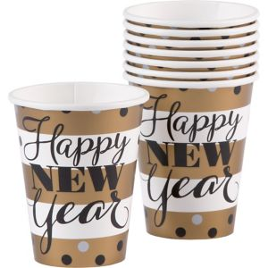 Golden Pattern New Year's Cups 8ct