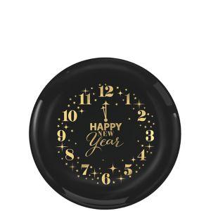 Metallic Countdown Clock New Year's Plastic Appetizer Plates 24ct