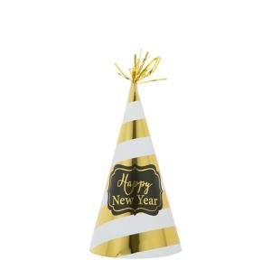 Gold Striped New Year's Party Hat