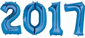 Blue 2017 Number Balloons 4pc