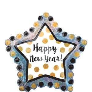 Black, Gold & Silver Star New Year's Balloon - Giant
