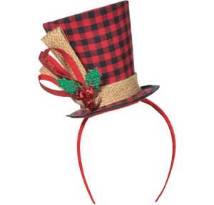 Buffalo Plaid Top Hat Headband