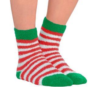 Striped Christmas Fuzzy Socks