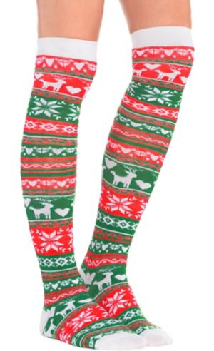 Fair Isle Christmas Over-the-Knee Socks