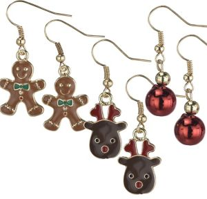 Gingerbread Man & Reindeer Christmas Earrings Set 6pc
