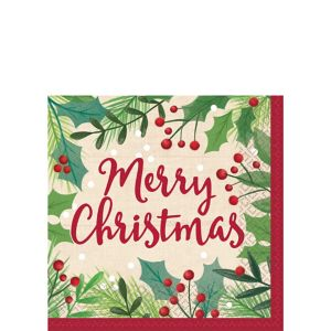 Holly Merry Christmas Beverage Napkins 16ct