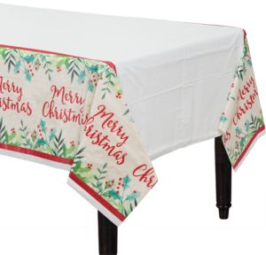 Holly Merry Christmas Table Cover