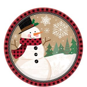 Winter Wonder Snowman Dessert Plates 8ct