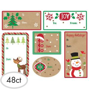 Christmas Adhesive Gift Tags 48ct
