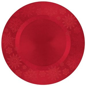 Red Embossed Snowflake Round Plastic Charger