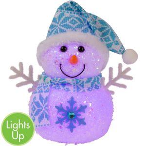 Light-Up Blue Glitter Snowman