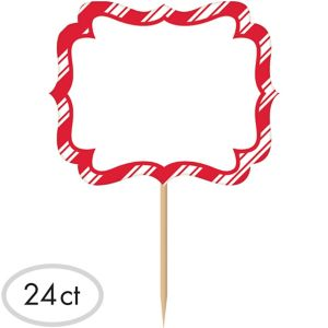 Red & White Striped Label Picks 24ct