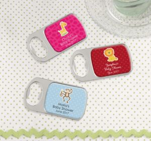 Personalized Baby Shower Bottle Openers - Silver (Printed Epoxy Label) (Bright Pink, Whale)