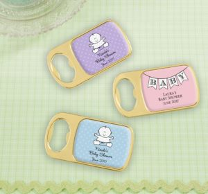 Personalized Baby Shower Bottle Openers - Gold (Printed Epoxy Label) (Sky Blue, Scallops)