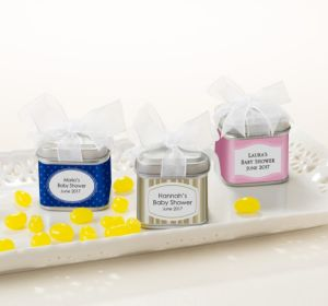 Personalized Baby Shower Favor Tins with Bows, Set of 12 (Printed Label) (Sky Blue, Quatrefoil)