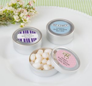 Personalized Round Candy Tins - Silver, Set of 12 (Printed Label) (Pink, Sweethearts)