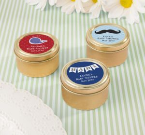 Personalized Baby Shower Round Candy Tins - Gold (Printed Label) (Gold, Mustache)