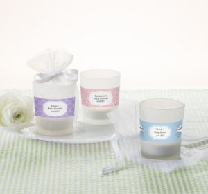 Personalized Baby Shower Glass Votive Candle Holders (Printed Label) (Lavender, Greek Key)