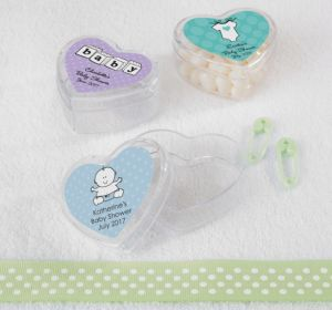 Personalized Baby Shower Heart-Shaped Plastic Favor Boxes, Set of 12 (Printed Label) (Lavender, Mod Dots)