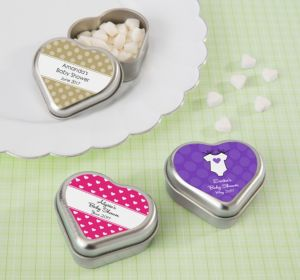 Personalized Baby Shower Heart-Shaped Mint Tins with Candy (Printed Label) (Lavender, Mod Dots)