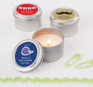 Personalized Baby Shower Candle Tins (Printed Label) (Silver, Mustache)