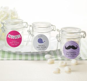 Personalized Baby Shower Small Glass Jars (Printed Label) (Purple, Baby Blocks)