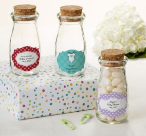 Personalized Baby Shower Glass Milk Bottles with Corks (Printed Label) (Lavender, Polka Dots)