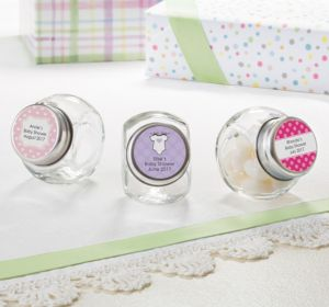 Personalized Baby Shower Glass Candy Jars (Printed Label) (Lavender, Mod Dots)