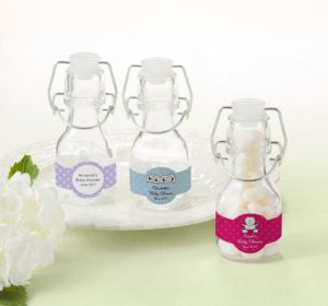 Personalized Baby Shower Glass Swing Top Bottles (Printed Label) (Sky Blue, Swirl)