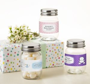 Personalized Baby Shower Mini Glass Mason Jars (Printed Label) (Purple, Mustache)