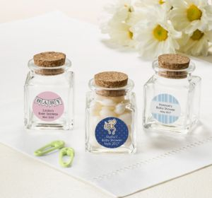 Personalized Baby Shower Small Glass Bottles with Corks (Printed Label) (Robin's Egg Blue, Bee)