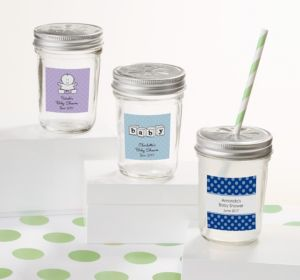 Personalized Baby Shower Mason Jars with Daisy Lids (Printed Label) (Sky Blue, Mod Dots)