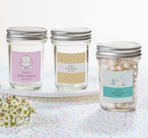 Personalized Baby Shower Mason Jars with Solid Lids (Printed Label) (Sky Blue, Floral)