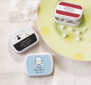 Personalized Baby Shower Mint Tins with Candy (Printed Label) (Bright Pink, Mustache)