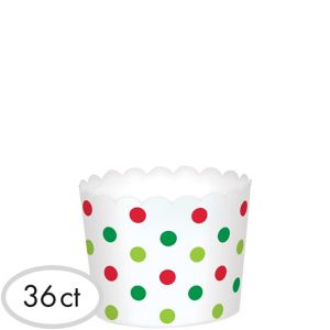 Mini Polka Dot Christmas Scalloped Bowls 36ct