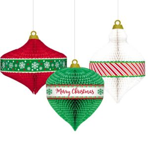 Christmas Ornament Honeycomb Balls 3ct