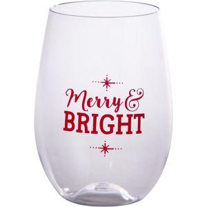 Merry & Bright Stemless Wine Glass