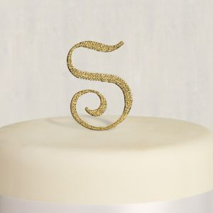 Rhinestone Gold Monogram S Cake Topper