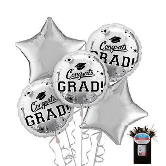 Silver Graduation Balloon Bouquet 5pc