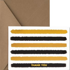 Metallic Gold & Black Striped Thank You Notes 20ct