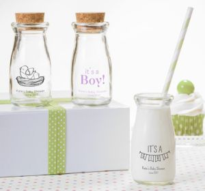 Personalized Baby Shower Glass Milk Bottles with Corks (Printed Glass) (Pink, It's A Girl Banner)