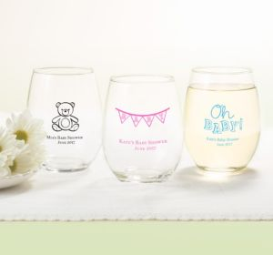 Personalized Baby Shower Stemless Wine Glasses 15oz (Printed Glass) (Bright Pink, Stork)