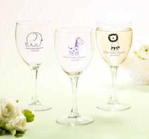 Personalized Baby Shower Wine Glasses (Printed Glass) (Pink, Giraffe)