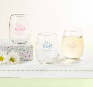 Personalized Baby Shower Stemless Wine Glasses 9oz (Printed Glass) (Bright Pink, Bird Nest)