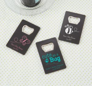 Personalized Baby Shower Credit Card Bottle Openers - Black (Printed Plastic) (Robin's Egg Blue, Cute As A Button)